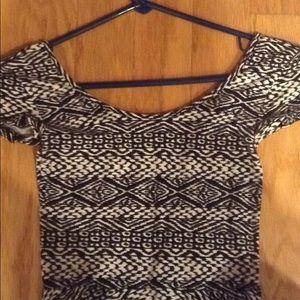 Aeropostale Dresses - Aeropostale Black White Tribal Print Skater Dress